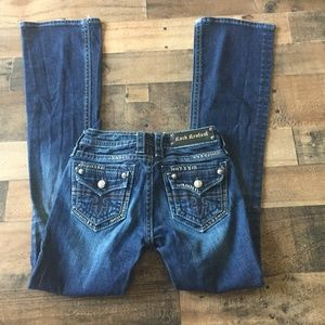 Rock Revival Button Flap Boot Cut Faded Jeans 25